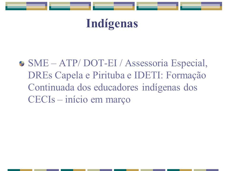 Indígenas SME – ATP/ DOT-EI / Assessoria Especial, DREs Capela e Pirituba e IDETI: Formação Continuada dos educadores indígenas dos CECIs – início em