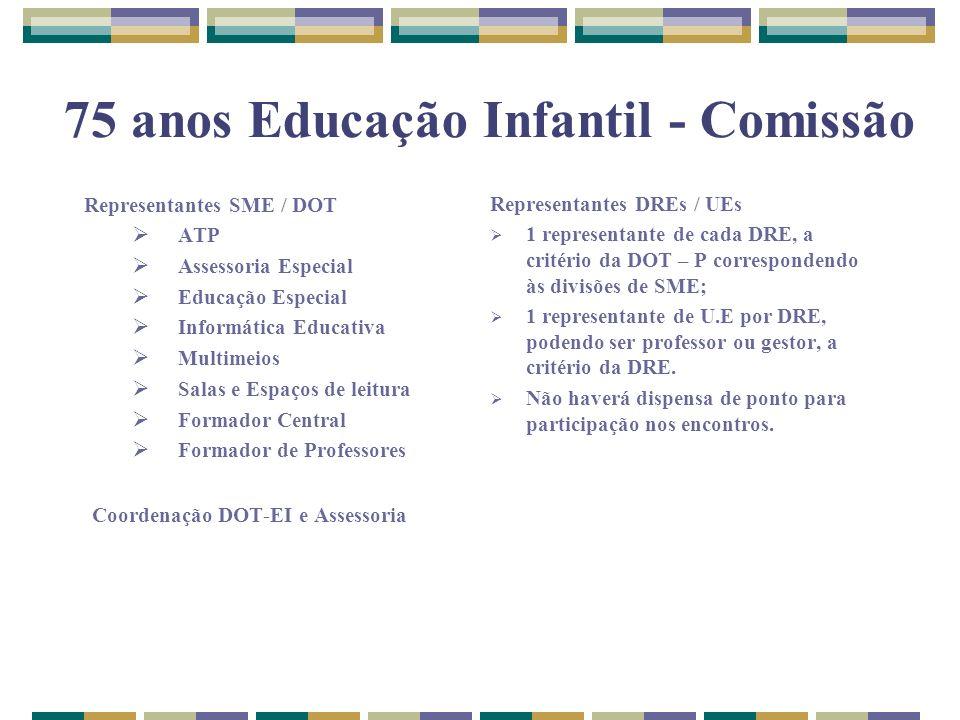 75 anos Educação Infantil - Comissão Representantes SME / DOT ATP Assessoria Especial Educação Especial Informática Educativa Multimeios Salas e Espaç