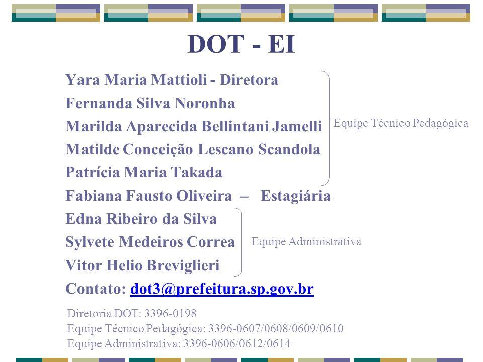 DOT - EI Yara Maria Mattioli - Diretora Fernanda Silva Noronha Marilda Aparecida Bellintani Jamelli Matilde Conceição Lescano Scandola Patrícia Maria