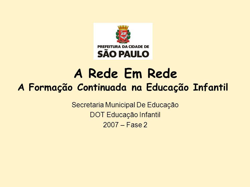 A Rede Em Rede A Formação Continuada na Educação Infantil Secretaria Municipal De Educação DOT Educação Infantil 2007 – Fase 2