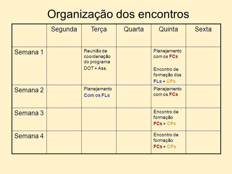 Organização dos encontros SegundaTerçaQuartaQuintaSexta Semana 1 Reunião de coordenação do programa DOT + Ass. Planejamento com os FCs Encontro de for