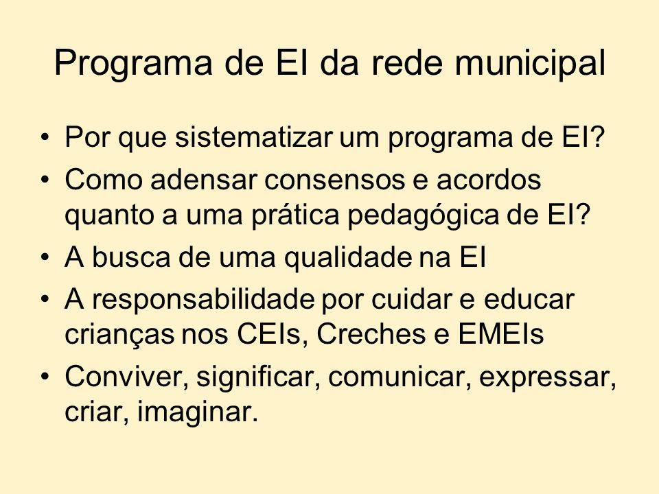 Programa de EI da rede municipal Por que sistematizar um programa de EI? Como adensar consensos e acordos quanto a uma prática pedagógica de EI? A bus