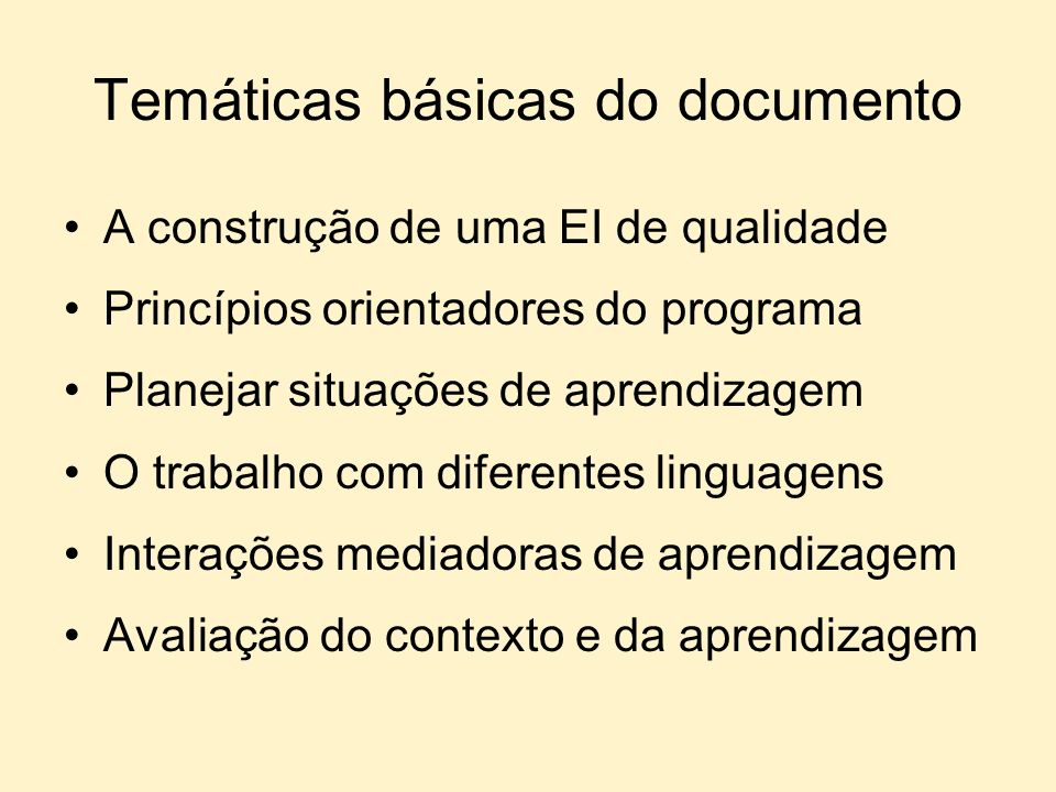 Temáticas básicas do documento A construção de uma EI de qualidade Princípios orientadores do programa Planejar situações de aprendizagem O trabalho c