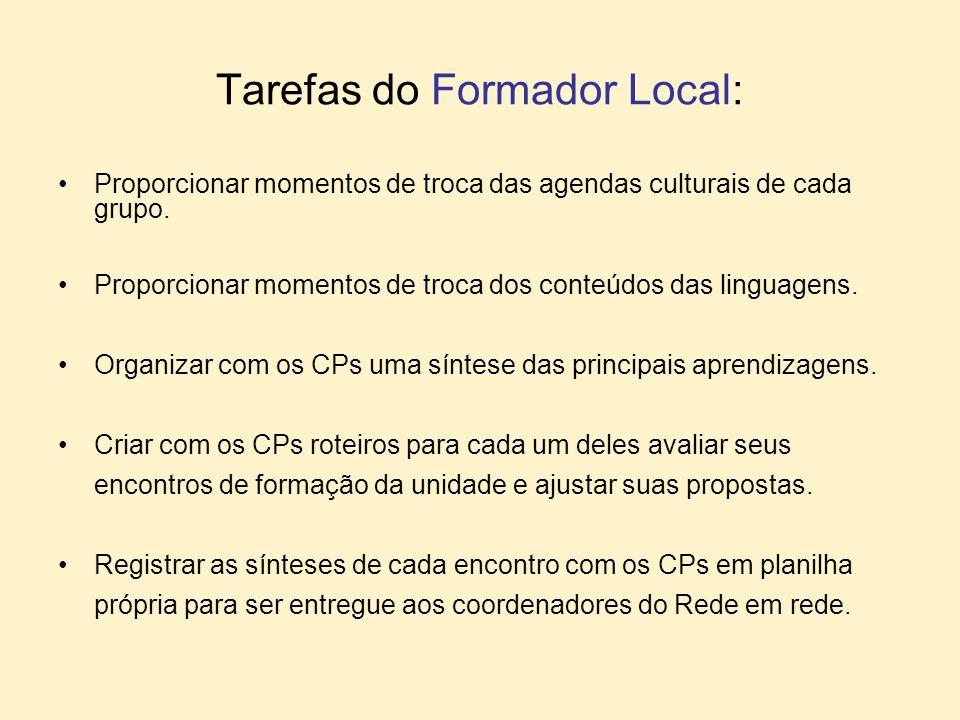 Tarefas do Formador Local: Proporcionar momentos de troca das agendas culturais de cada grupo. Proporcionar momentos de troca dos conteúdos das lingua