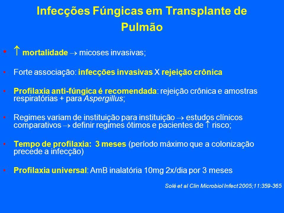 Infecções Fúngicas em Transplante de Pulmão mortalidade micoses invasivas; Forte associação: infecções invasivas X rejeição crônica Profilaxia anti-fú