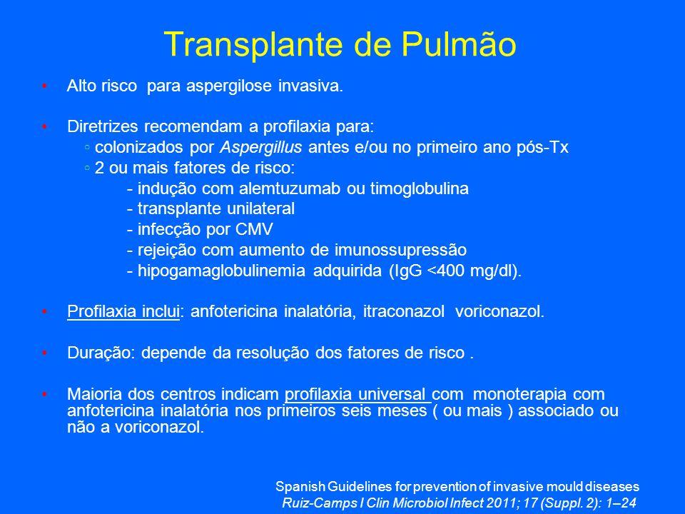 Transplante de Pulmão Alto risco para aspergilose invasiva. Diretrizes recomendam a profilaxia para: colonizados por Aspergillus antes e/ou no primeir