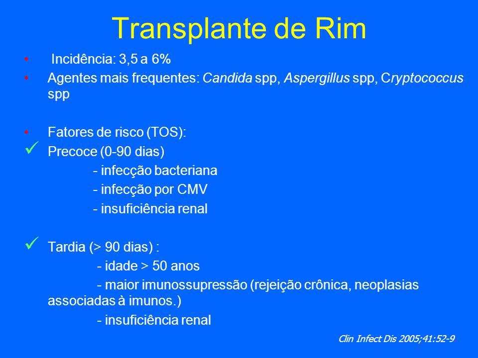 Transplante de Rim Incidência: 3,5 a 6% Agentes mais frequentes: Candida spp, Aspergillus spp, Cryptococcus spp Fatores de risco (TOS): Precoce (0-90