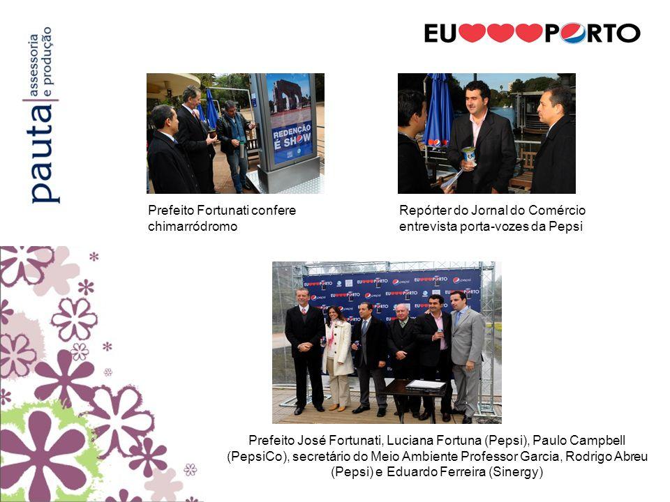 Prefeito José Fortunati, Luciana Fortuna (Pepsi), Paulo Campbell (PepsiCo), secretário do Meio Ambiente Professor Garcia, Rodrigo Abreu (Pepsi) e Edua