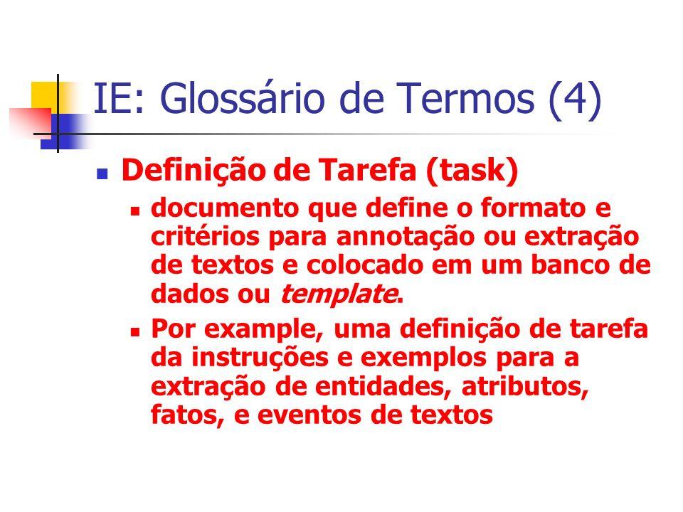 IE: Glossário de Termos (4) Definição de Tarefa (task) documento que define o formato e critérios para annotação ou extração de textos e colocado em u