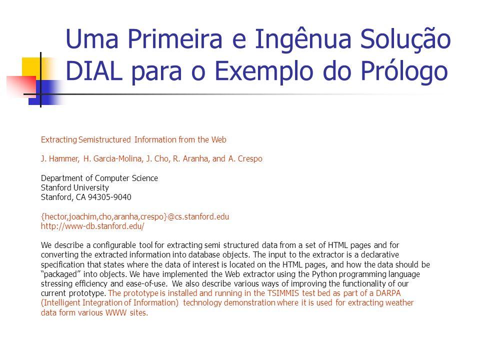 Uma Primeira e Ingênua Solução DIAL para o Exemplo do Prólogo Extracting Semistructured Information from the Web J. Hammer, H. Garcia-Molina, J. Cho,
