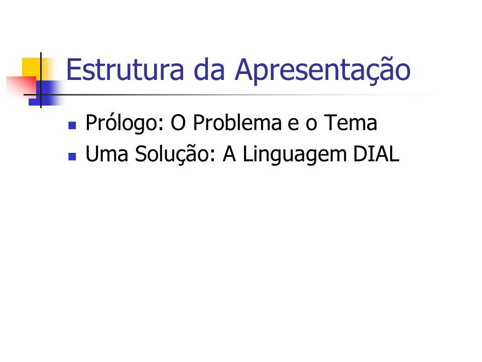 Estrutura da Apresentação Prólogo: O Problema e o Tema Uma Solução: A Linguagem DIAL