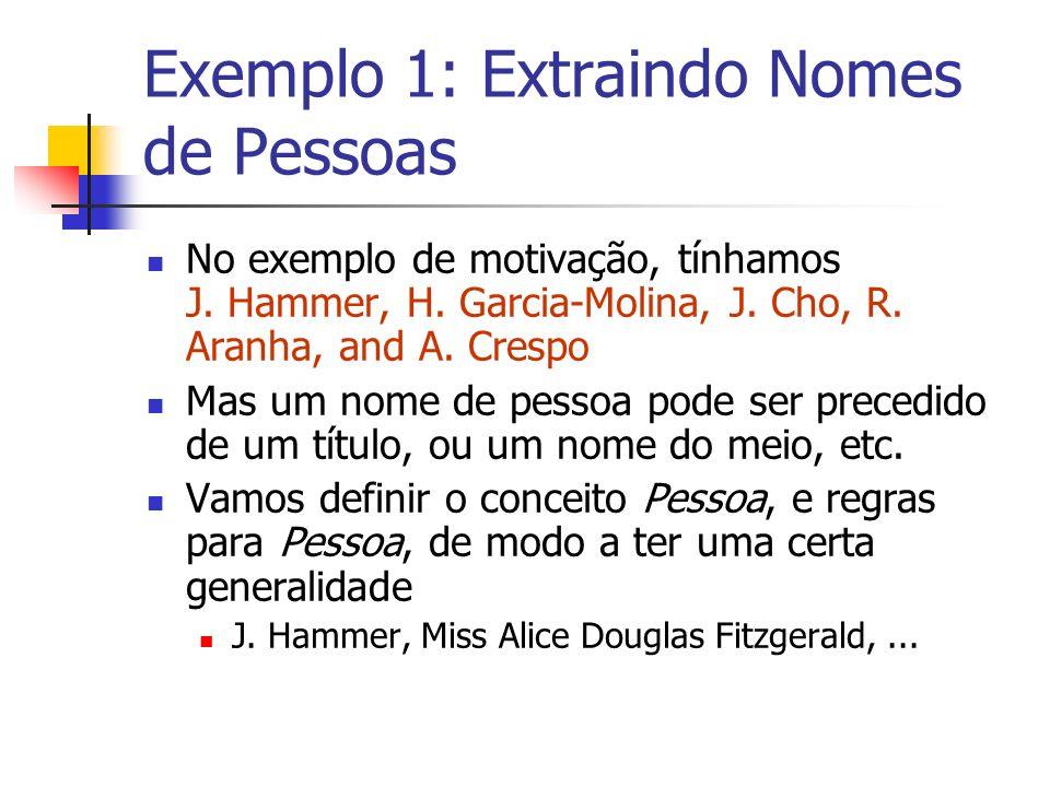 Exemplo 1: Extraindo Nomes de Pessoas No exemplo de motivação, tínhamos J. Hammer, H. Garcia-Molina, J. Cho, R. Aranha, and A. Crespo Mas um nome de p