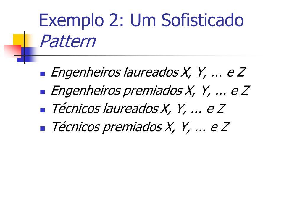 Exemplo 2: Um Sofisticado Pattern Engenheiros laureados X, Y,... e Z Engenheiros premiados X, Y,... e Z Técnicos laureados X, Y,... e Z Técnicos premi