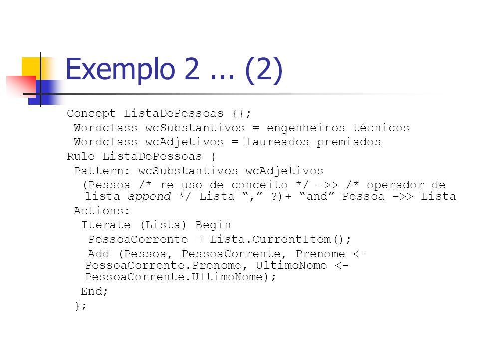 Exemplo 2... (2) Concept ListaDePessoas {}; Wordclass wcSubstantivos = engenheiros técnicos Wordclass wcAdjetivos = laureados premiados Rule ListaDePe