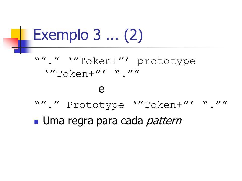 Exemplo 3... (2). Token+ prototype Token+. e. Prototype Token+. Uma regra para cada pattern