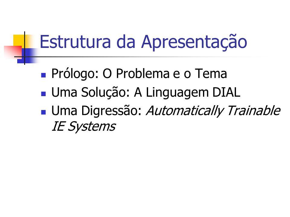 Estrutura da Apresentação Prólogo: O Problema e o Tema Uma Solução: A Linguagem DIAL Uma Digressão: Automatically Trainable IE Systems