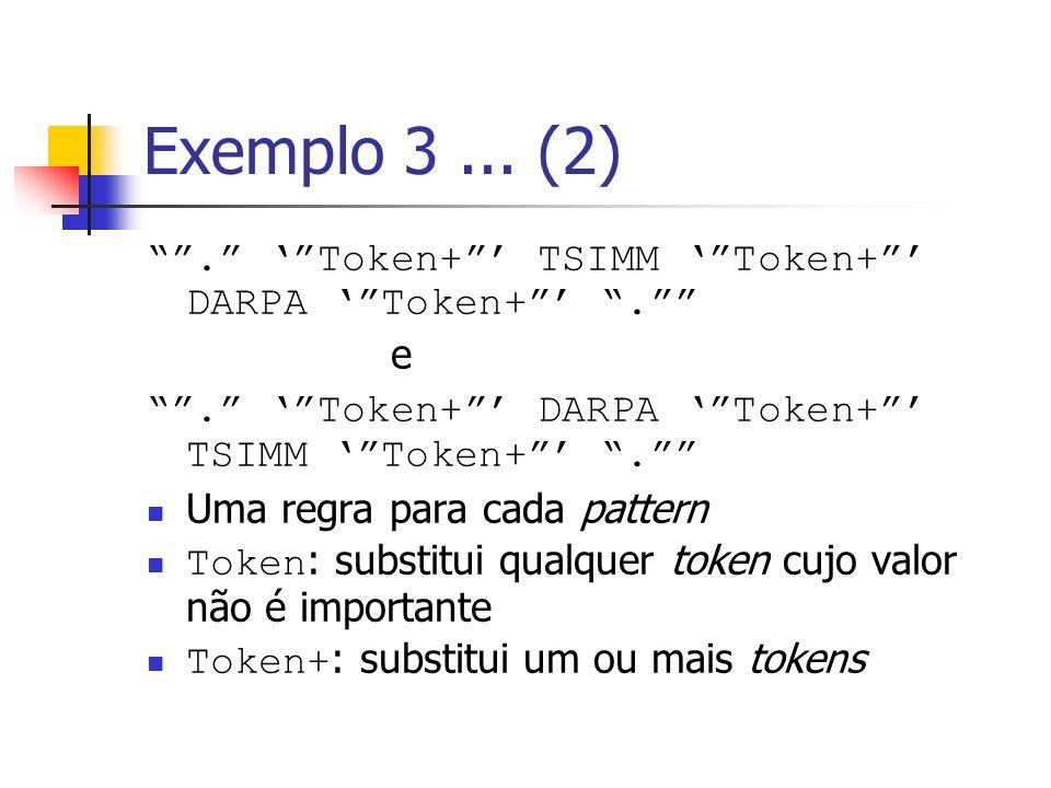 Exemplo 3... (2). Token+ TSIMM Token+ DARPA Token+. e. Token+ DARPA Token+ TSIMM Token+. Uma regra para cada pattern Token : substitui qualquer token