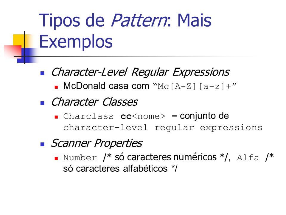 Tipos de Pattern: Mais Exemplos Character-Level Regular Expressions McDonald casa com Mc[A-Z][a-z]+ Character Classes Charclass cc = conjunto de chara