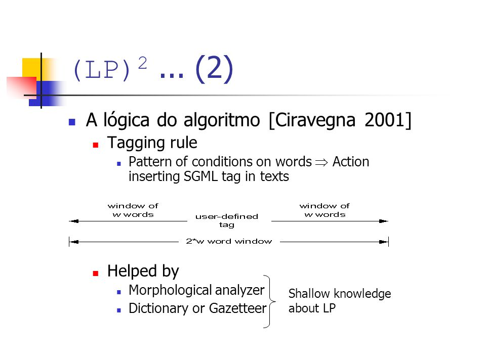 (LP) 2... (2) A lógica do algoritmo [Ciravegna 2001] Tagging rule Pattern of conditions on words Action inserting SGML tag in texts Helped by Morpholo