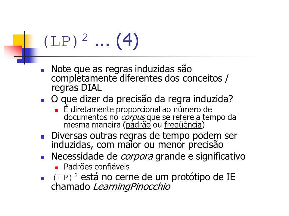 (LP) 2... (4) Note que as regras induzidas são completamente diferentes dos conceitos / regras DIAL O que dizer da precisão da regra induzida? É diret