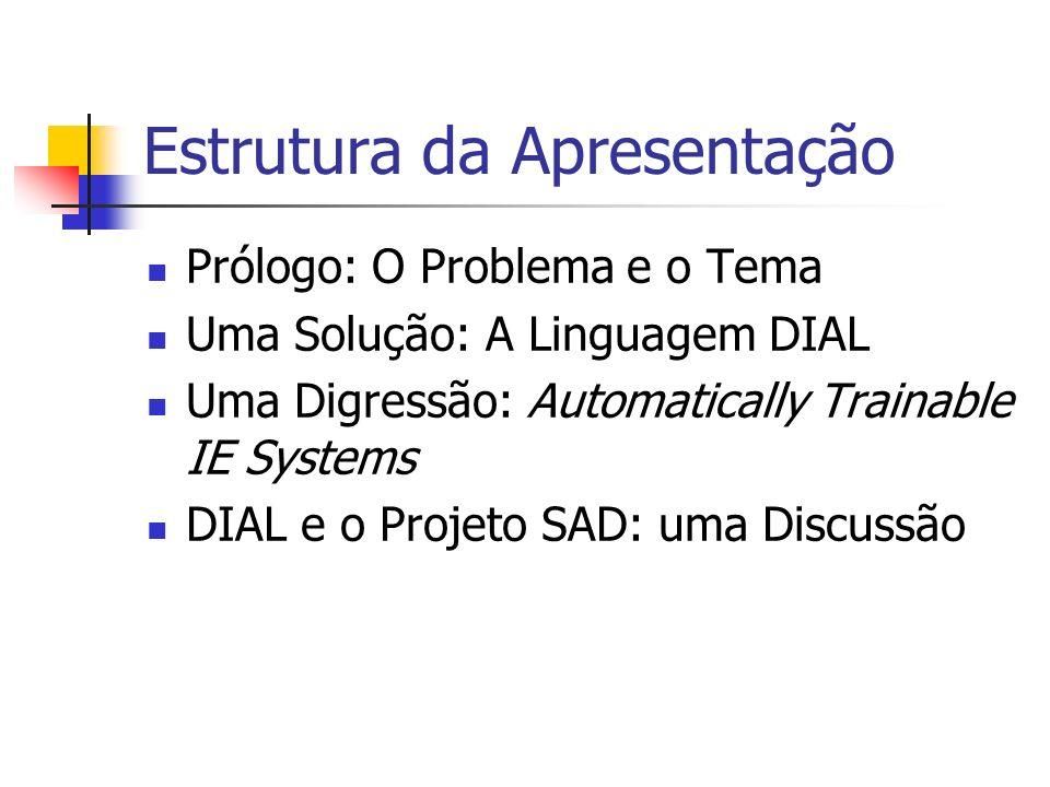 Estrutura da Apresentação Prólogo: O Problema e o Tema Uma Solução: A Linguagem DIAL Uma Digressão: Automatically Trainable IE Systems DIAL e o Projet
