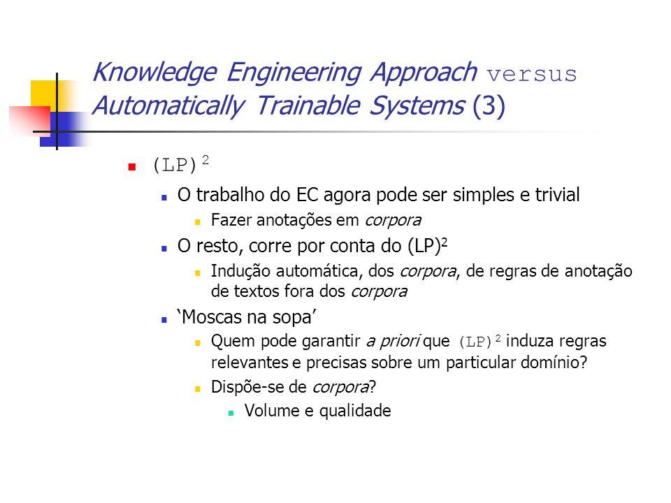 Knowledge Engineering Approach versus Automatically Trainable Systems (3) (LP) 2 O trabalho do EC agora pode ser simples e trivial Fazer anotações em