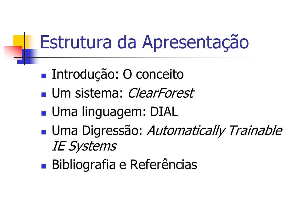 Estrutura da Apresentação Introdução: O conceito Um sistema: ClearForest Uma linguagem: DIAL Uma Digressão: Automatically Trainable IE Systems Bibliog