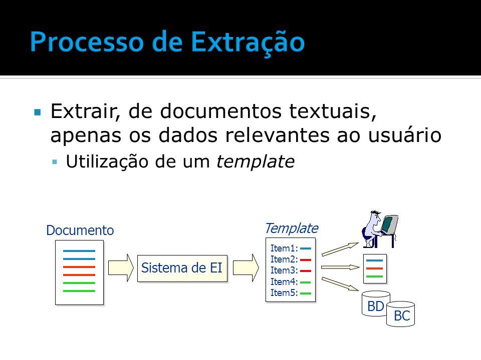 Tarefa de EI -> tarefa de classificação Textos semi-estruturados
