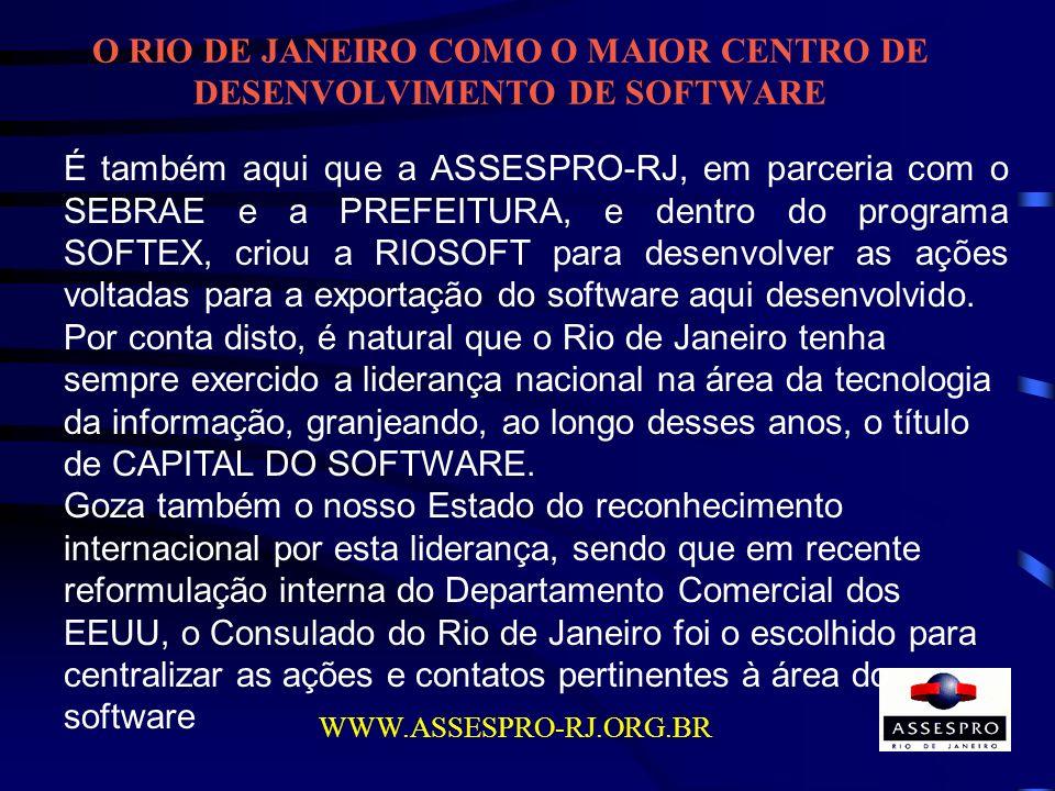 O RIO DE JANEIRO COMO O MAIOR CENTRO DE DESENVOLVIMENTO DE SOFTWARE WWW.ASSESPRO-RJ.ORG.BR É também aqui que a ASSESPRO-RJ, em parceria com o SEBRAE e