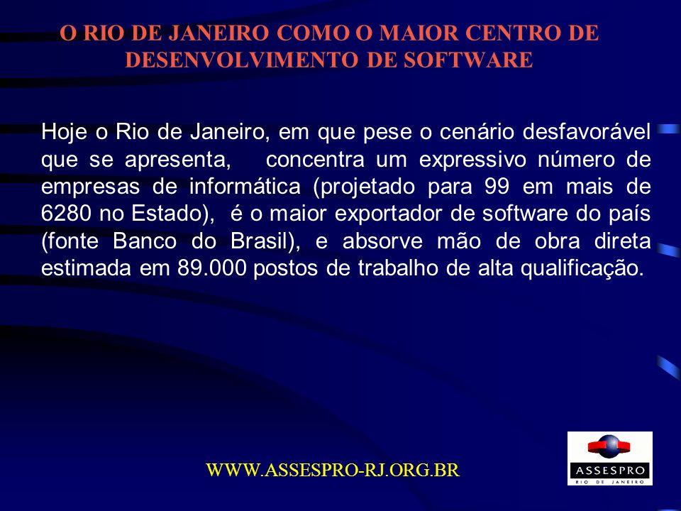 O RIO DE JANEIRO COMO O MAIOR CENTRO DE DESENVOLVIMENTO DE SOFTWARE WWW.ASSESPRO-RJ.ORG.BR Hoje o Rio de Janeiro, em que pese o cenário desfavorável q