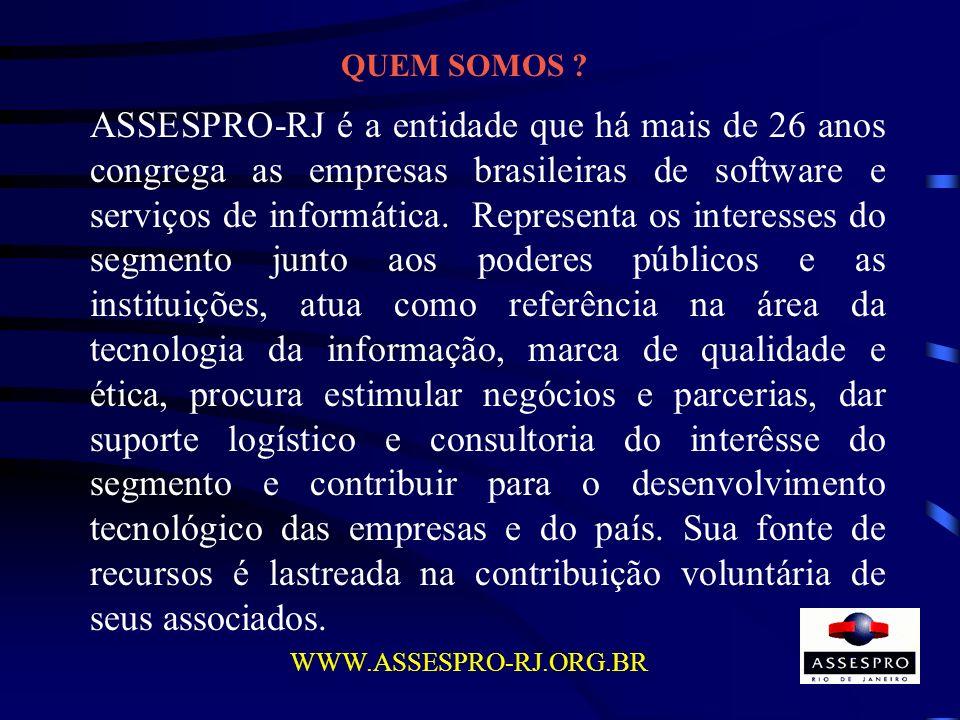 QUEM SOMOS ? ASSESPRO-RJ é a entidade que há mais de 26 anos congrega as empresas brasileiras de software e serviços de informática. Representa os int