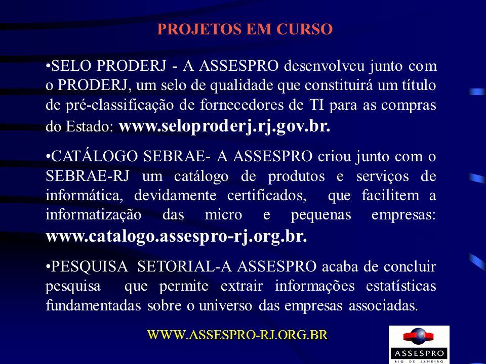 PROJETOS EM CURSO SELO PRODERJ - A ASSESPRO desenvolveu junto com o PRODERJ, um selo de qualidade que constituirá um título de pré-classificação de fo