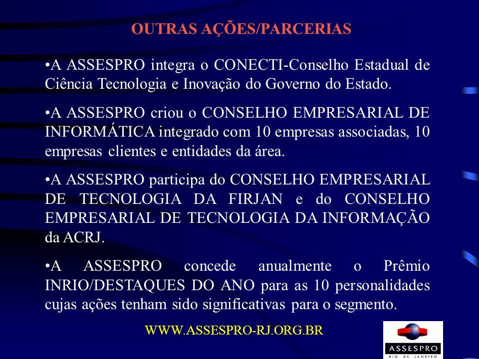 OUTRAS AÇÕES/PARCERIAS A ASSESPRO integra o CONECTI-Conselho Estadual de Ciência Tecnologia e Inovação do Governo do Estado. A ASSESPRO criou o CONSEL