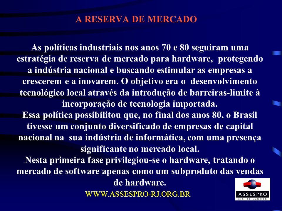 A RESERVA DE MERCADO WWW.ASSESPRO-RJ.ORG.BR As políticas industriais nos anos 70 e 80 seguiram uma estratégia de reserva de mercado para hardware, pro