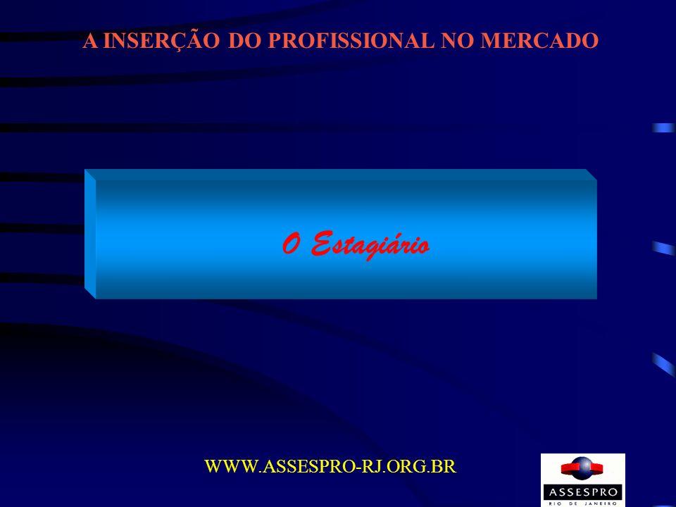 A INSERÇÃO DO PROFISSIONAL NO MERCADO WWW.ASSESPRO-RJ.ORG.BR O Estagiário