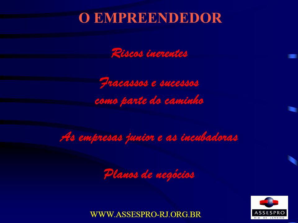 O EMPREENDEDOR WWW.ASSESPRO-RJ.ORG.BR Riscos inerentes Fracassos e sucessos como parte do caminho As empresas junior e as incubadoras Planos de negóci