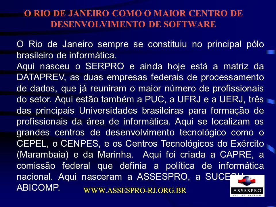 O RIO DE JANEIRO COMO O MAIOR CENTRO DE DESENVOLVIMENTO DE SOFTWARE WWW.ASSESPRO-RJ.ORG.BR O Rio de Janeiro sempre se constituiu no principal pólo bra