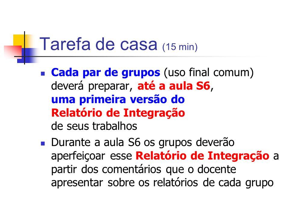 Tarefa de casa (15 min) Cada par de grupos (uso final comum) deverá preparar, até a aula S6, uma primeira versão do Relatório de Integração de seus tr