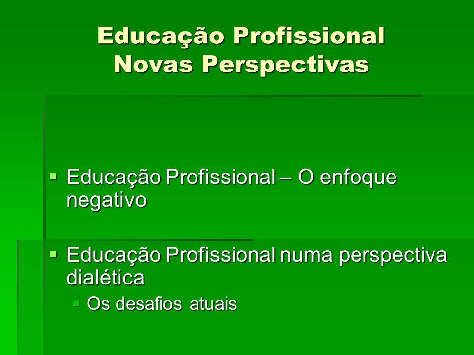 Educação Profissional Novas Perspectivas Educação Profissional – O enfoque negativo Educação Profissional – O enfoque negativo Educação Profissional n
