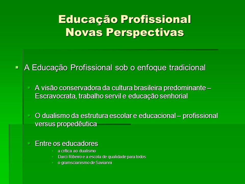 Educação Profissional Novas Perspectivas A Educação Profissional sob o enfoque tradicional A Educação Profissional sob o enfoque tradicional A visão c