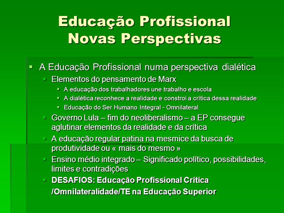 Educação Profissional Novas Perspectivas A Educação Profissional numa perspectiva dialética A Educação Profissional numa perspectiva dialética Element