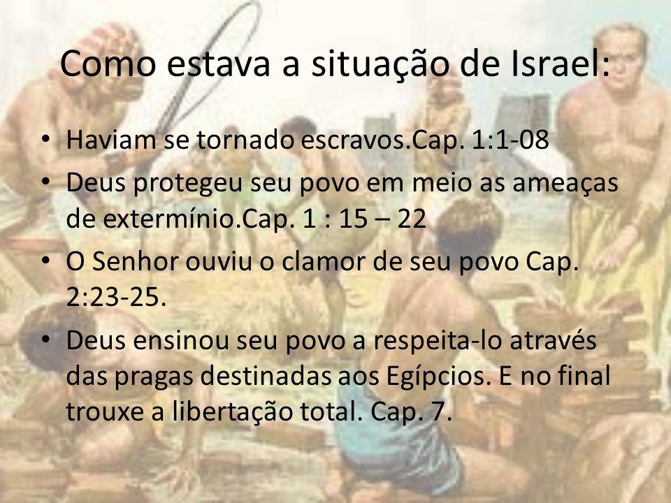 Como estava a situação de Israel: Haviam se tornado escravos.Cap. 1:1-08 Deus protegeu seu povo em meio as ameaças de extermínio.Cap. 1 : 15 – 22 O Se