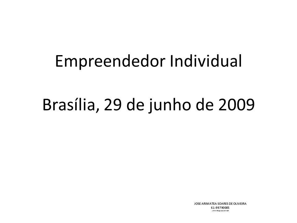 Empreendedor Individual Brasília, 29 de junho de 2009 JOSE ARIMATEA SOARES DE OLIVEIRA 61-99790005 JARIMATEA@UOL.COM.BR