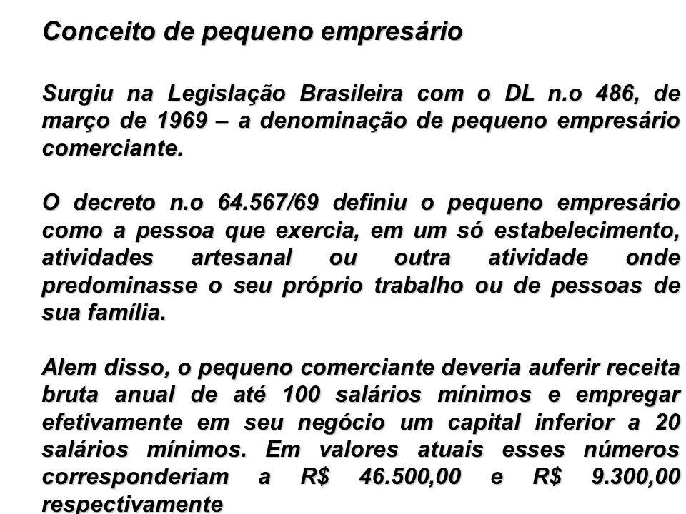 Conceito de pequeno empresário Surgiu na Legislação Brasileira com o DL n.o 486, de março de 1969 – a denominação de pequeno empresário comerciante. O