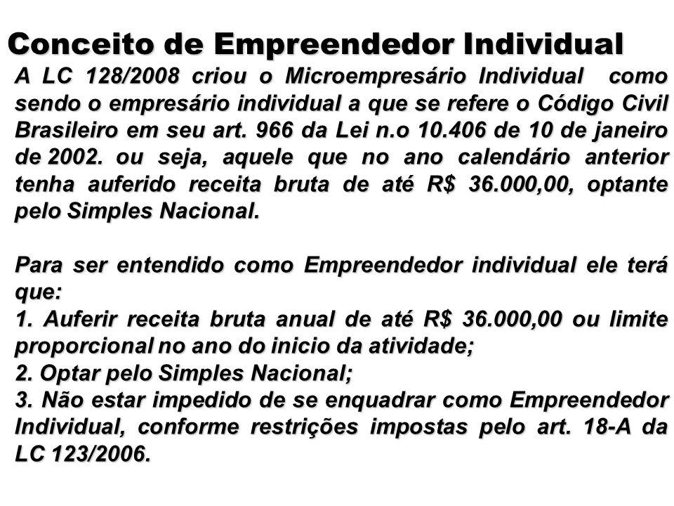 A LC 128/2008 criou o Microempresário Individual como sendo o empresário individual a que se refere o Código Civil Brasileiro em seu art. 966 da Lei n