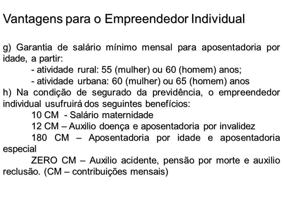 Vantagens para o Empreendedor Individual g) Garantia de salário mínimo mensal para aposentadoria por idade, a partir: - atividade rural: 55 (mulher) o