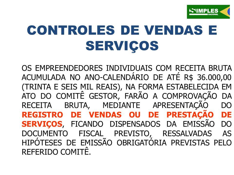 CONTROLES DE VENDAS E SERVIÇOS OS EMPREENDEDORES INDIVIDUAIS COM RECEITA BRUTA ACUMULADA NO ANO-CALENDÁRIO DE ATÉ R$ 36.000,00 (TRINTA E SEIS MIL REAI