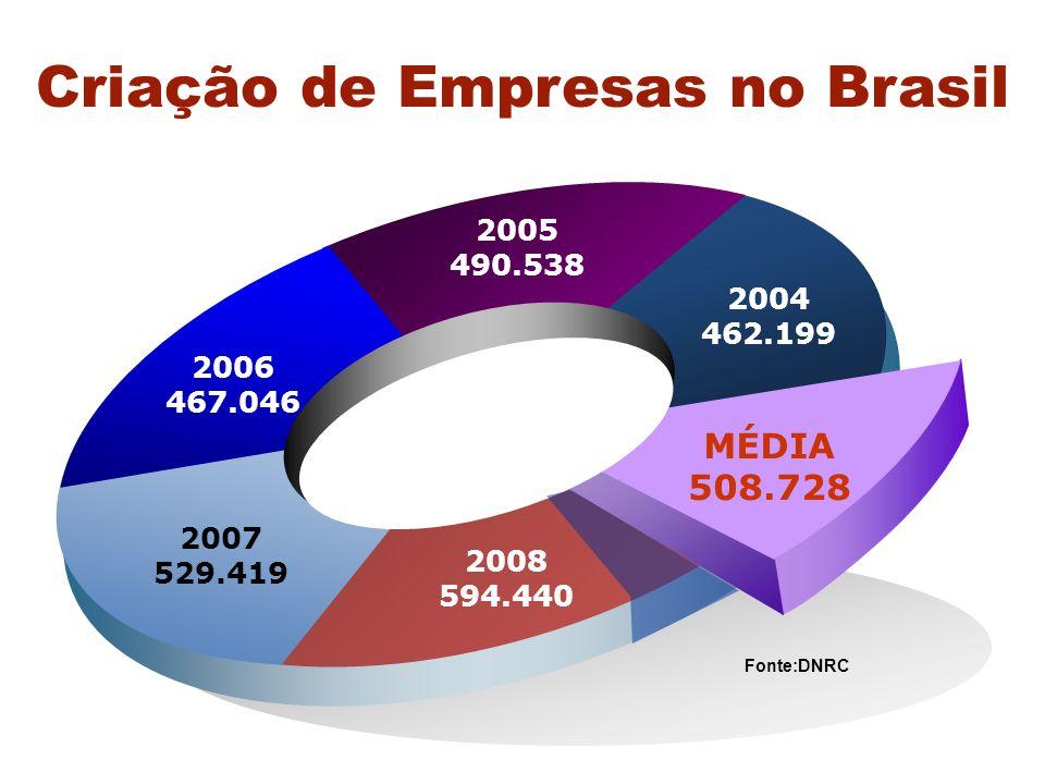 Mortalidade de Empresas no Brasil 49,4 % 4 anos de vida3 anos de vida 2 anos de vida 56,4%59,9% * Aproximadamente 3,2 postos de trabalho por empresa ** O capital médio investido pela empresa extinta foi da ordem de, aproximadamente, R$ 26 mil, com retorno de apenas 30%.