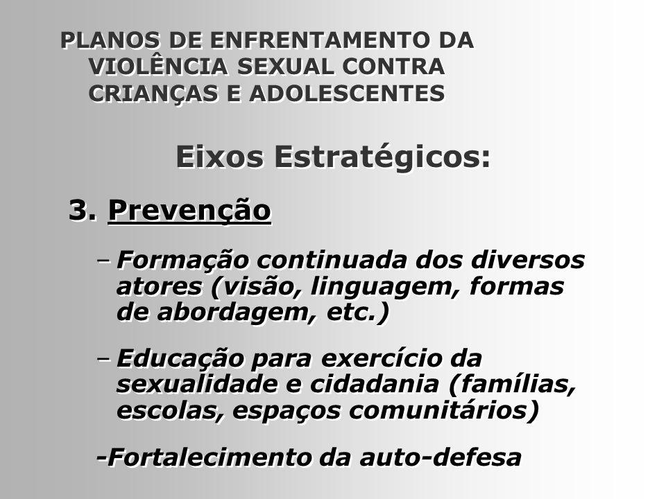 12 PLANOS DE ENFRENTAMENTO DA VIOLÊNCIA SEXUAL CONTRA CRIANÇAS E ADOLESCENTES 3. Prevenção –Formação continuada dos diversos atores (visão, linguagem,