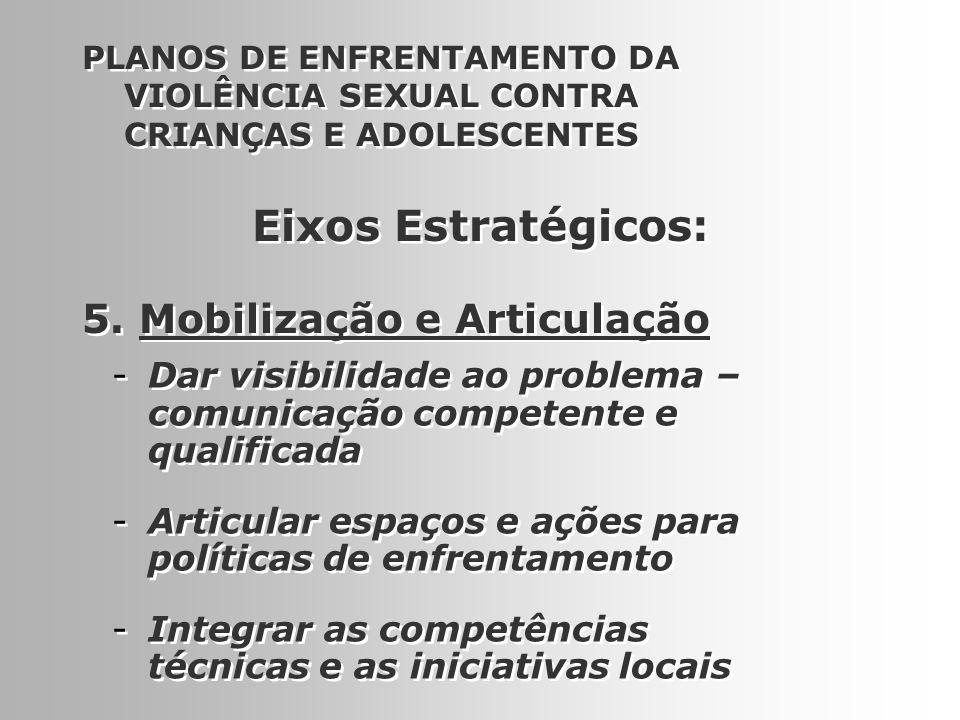 14 5. Mobilização e Articulação PLANOS DE ENFRENTAMENTO DA VIOLÊNCIA SEXUAL CONTRA CRIANÇAS E ADOLESCENTES -Dar visibilidade ao problema – comunicação